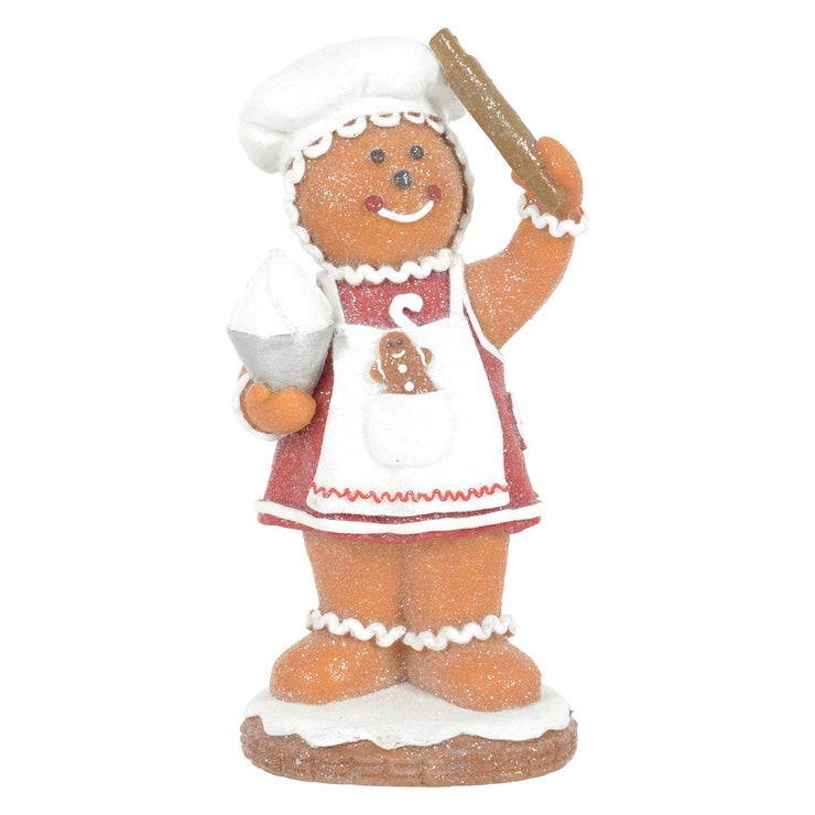 front view of 20cm gingerbread lady ornament featuring a rolling pin, with icing and a mini gingerbread man cookie in the aprons pocket