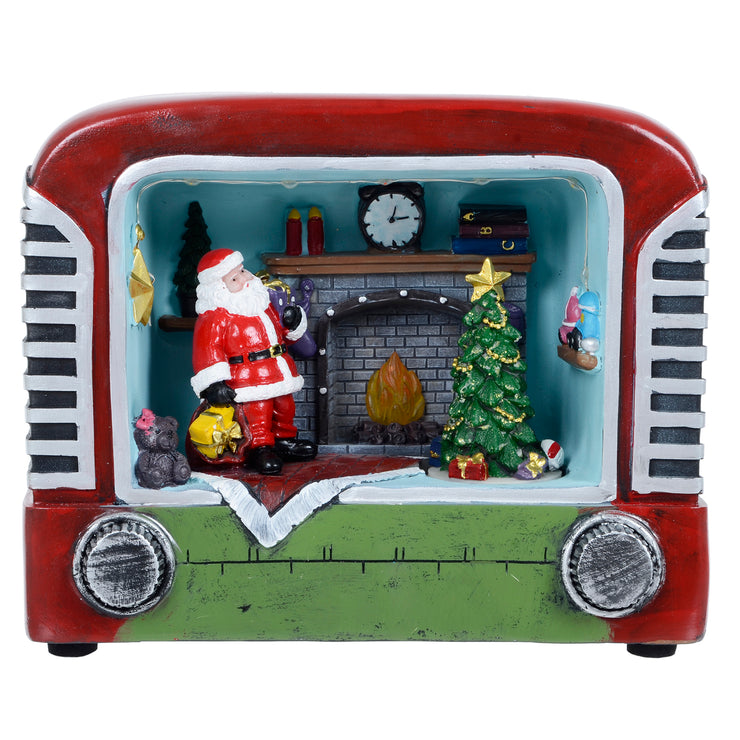 front view of retro radio featuring rotating christmas tree and flickering fire light