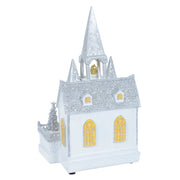 back view of christmas church scene ornament decoration