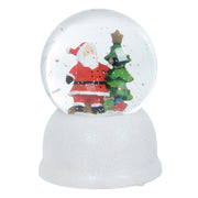 front view of santa scene snow globe with glitter finish base