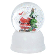 snow globe with snow glitter swirling inside