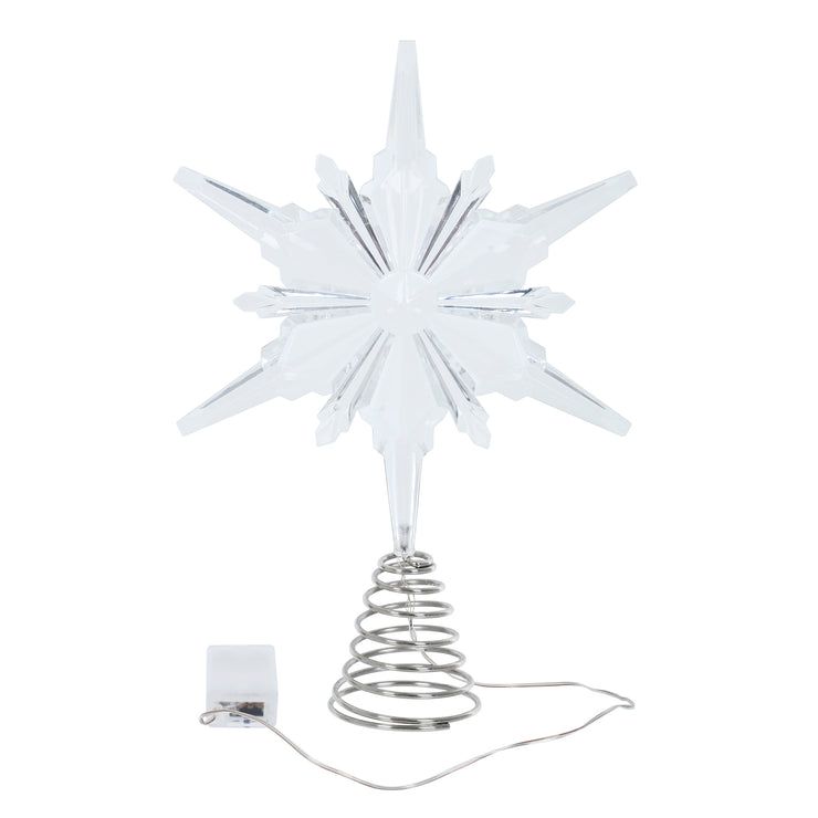 christmas tree snowflake with battery compartment and spring to secure to tree