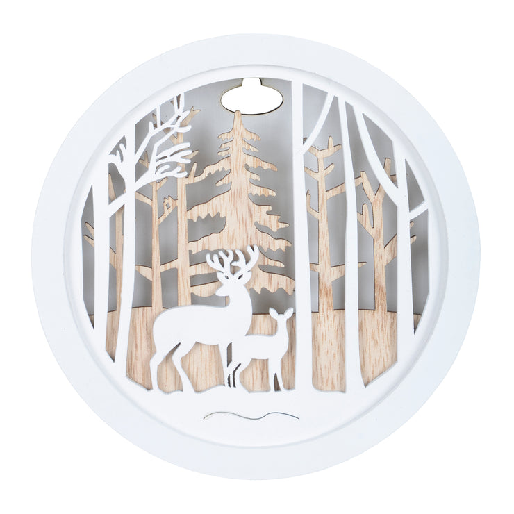 front view of woodland reindeer scene wall hanging