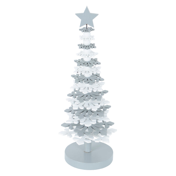 grey and white wooden christmas tree shaped desk decoration