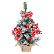 2ft mini christmas tree wit poinsettia, red baubles, and snow flocked branches