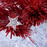 close up detail of star shaped light, unlit on red tree