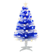 front view of 4ft striped white and blue tree with fibre optic and star shaped lights finished with star tree topper and white base stand