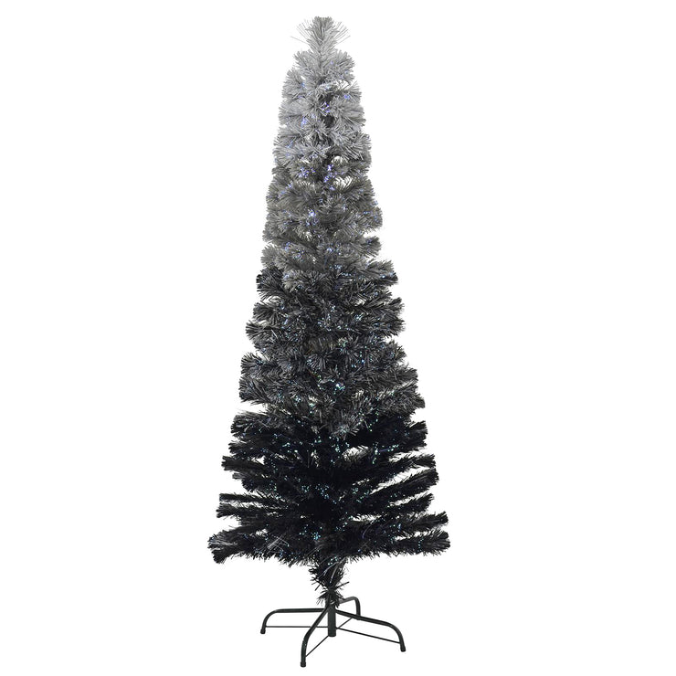 grey and black 6ft fibre optic pencil christmas tree