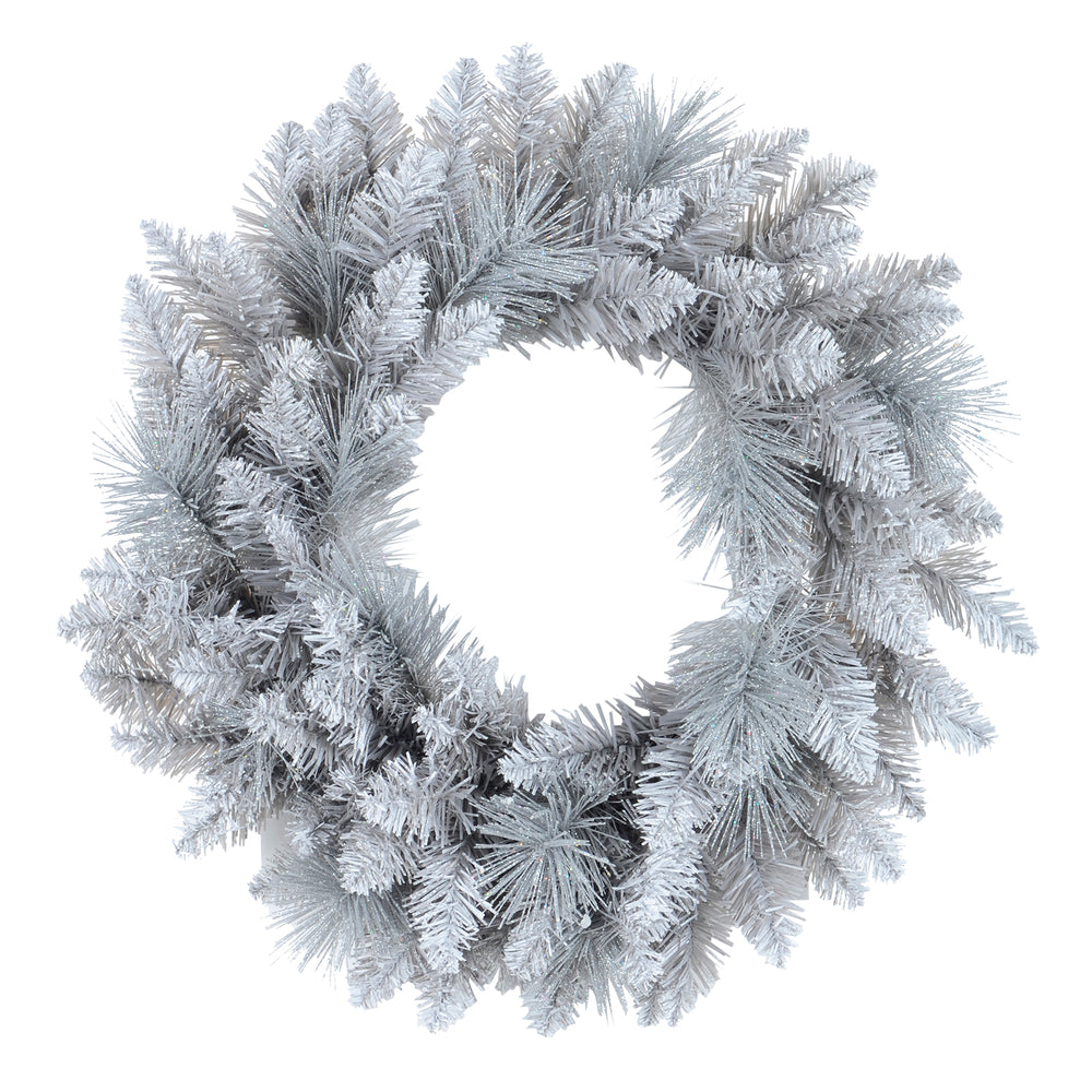 Mr Crimbo Christmas Wreath Silver Glitter Frosted Pine 20