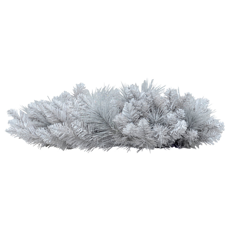 Mr Crimbo Christmas Wreath Silver Glitter Frosted Pine 20""