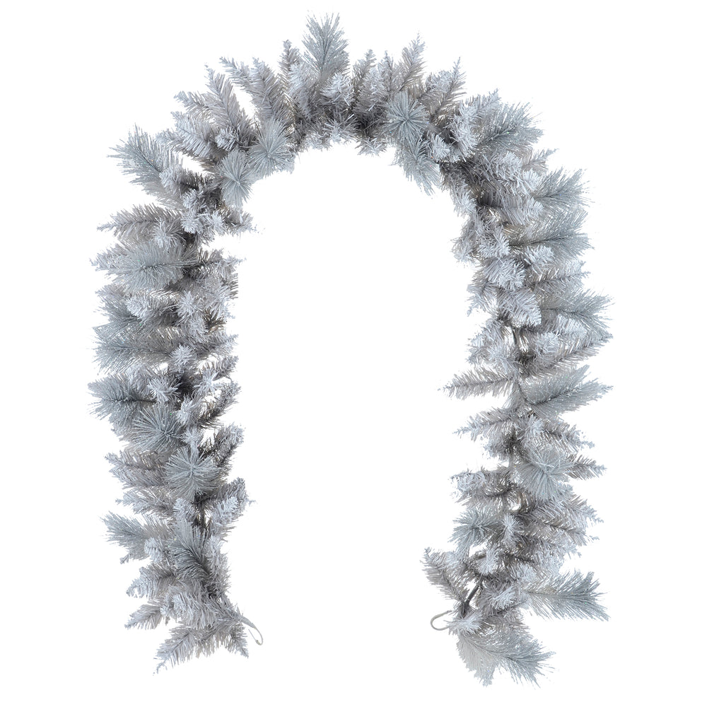 Mr Crimbo Christmas Garland Silver Glitter Frosted Pine 6ft