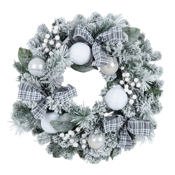 front view of contemporary flocked wreath with grey tartan bows