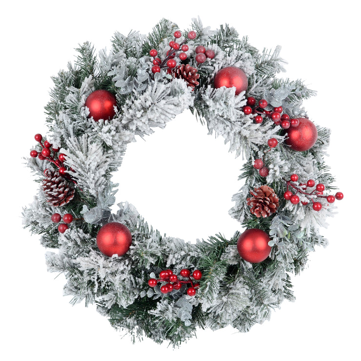 "24"" artificial snowflocked christmas wreath with red baubles, berry clusters and pine cones"