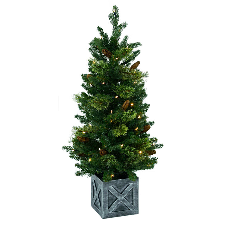 3.5ft pre lit battery operated christmas tree in antique silver pot base