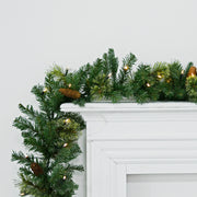 garland draped over fireplace matel