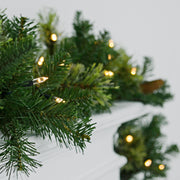 warm white led lights on mixed pine garland