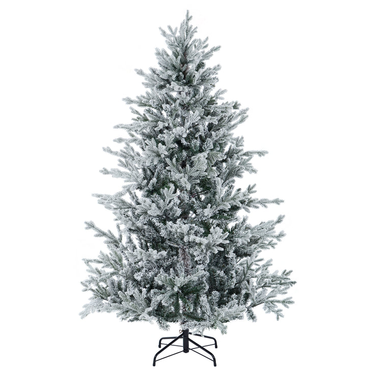 luxury flocked christmas tree with snow flocked branches in 6ft size option