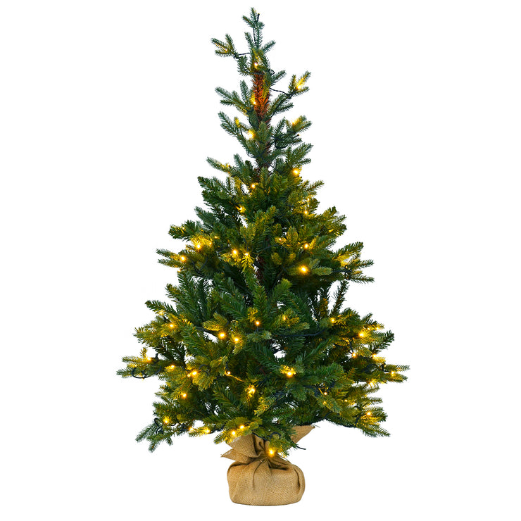 4ft pre-lit christmas tree with jute base cover