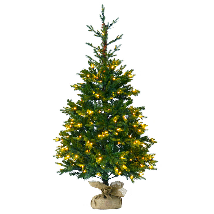 5ft pre-lit christmas tree with jute base cover