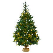 pre-lit christmas tree with jute base cover