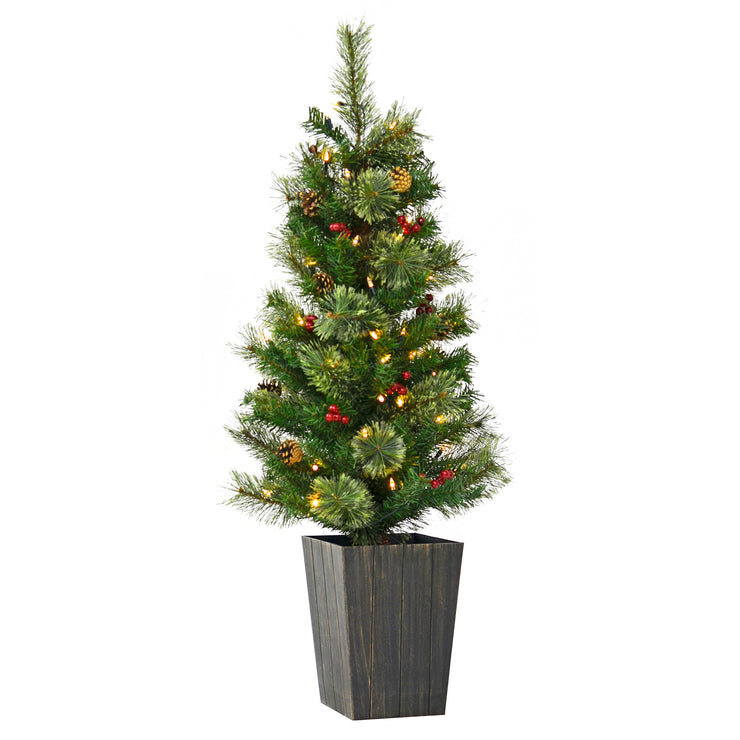 4ft luxury potted christmas tree with warm white led lights, pine cones and berry clusters