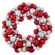 "18"" red bauble wreath decoration with silver and red glitter, matte and shiny baubles"