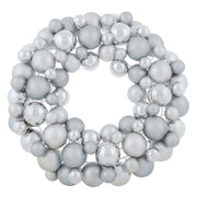 "18"" silver bauble wreath decoration with glitter, shiny and matte baubles"