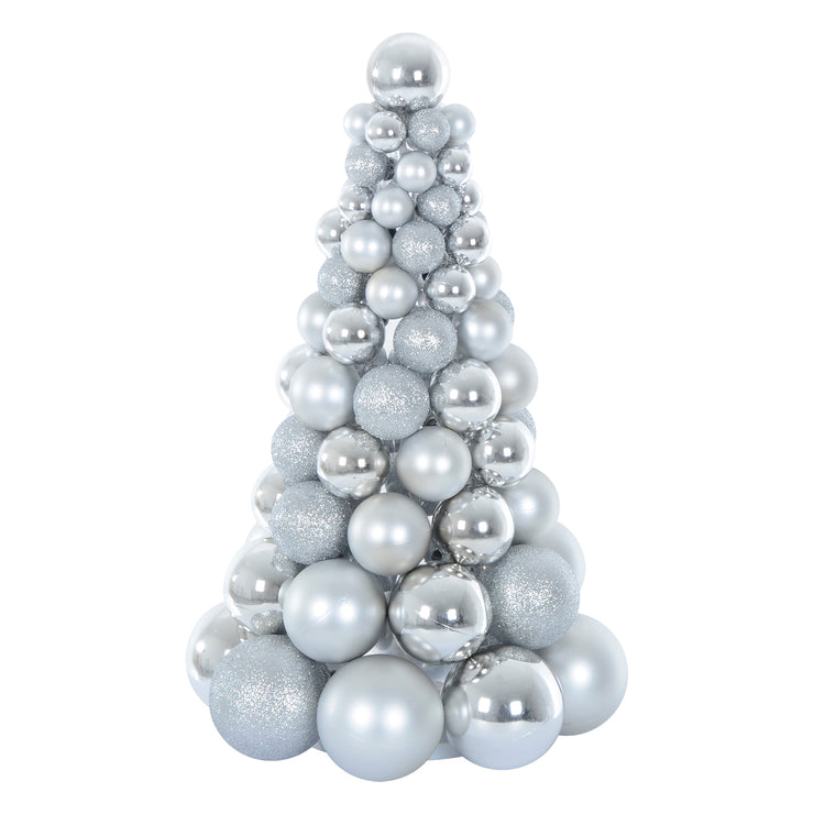 silver christmas tree shaped decoration crafted from glitter, matte and shiny baubles