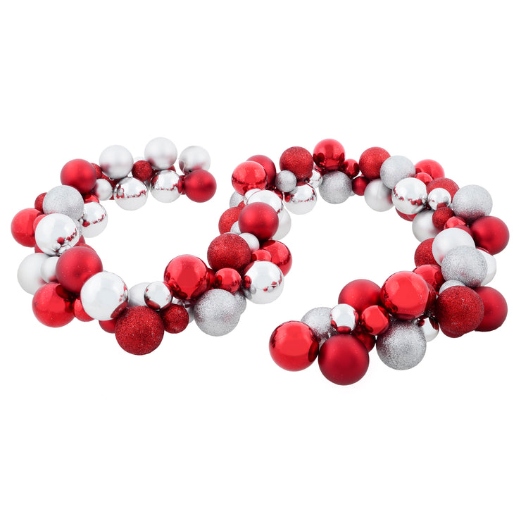 red and silver bauble garland decoration