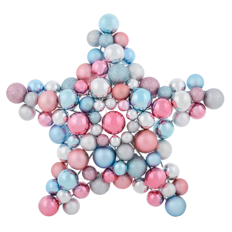 front view of wall star decoration with pink blue and silver christmas tree baubles