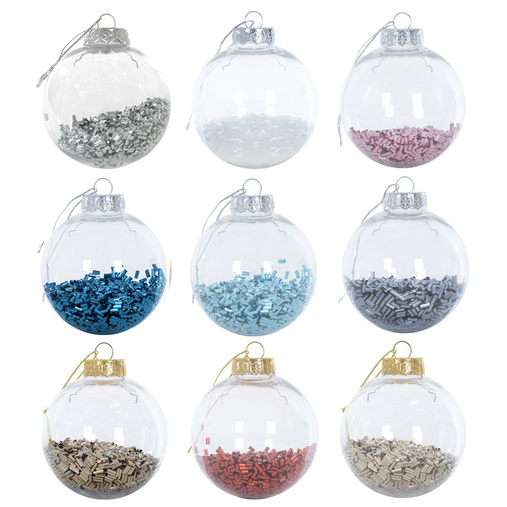 foil filled shaker christmas tree baubles available in a range of colours