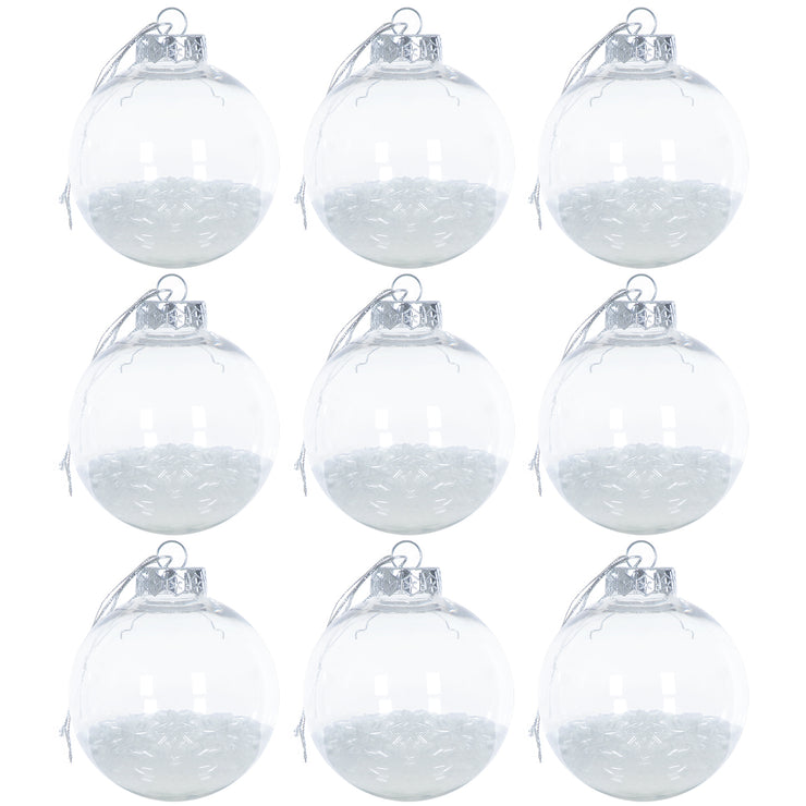 white iridescent foil filled shaker tree bauble set