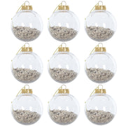 gold foil filled shaker tree bauble set