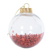 red foil filled shaker bauble with gold thread and topper