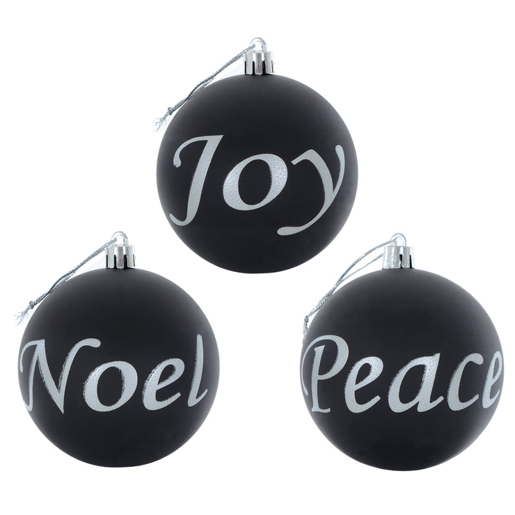 Joy, Noel, Peace baubles in black finish with white text