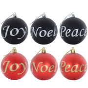 Joy, Noel, Peace Baubles available in black or red colour finishes