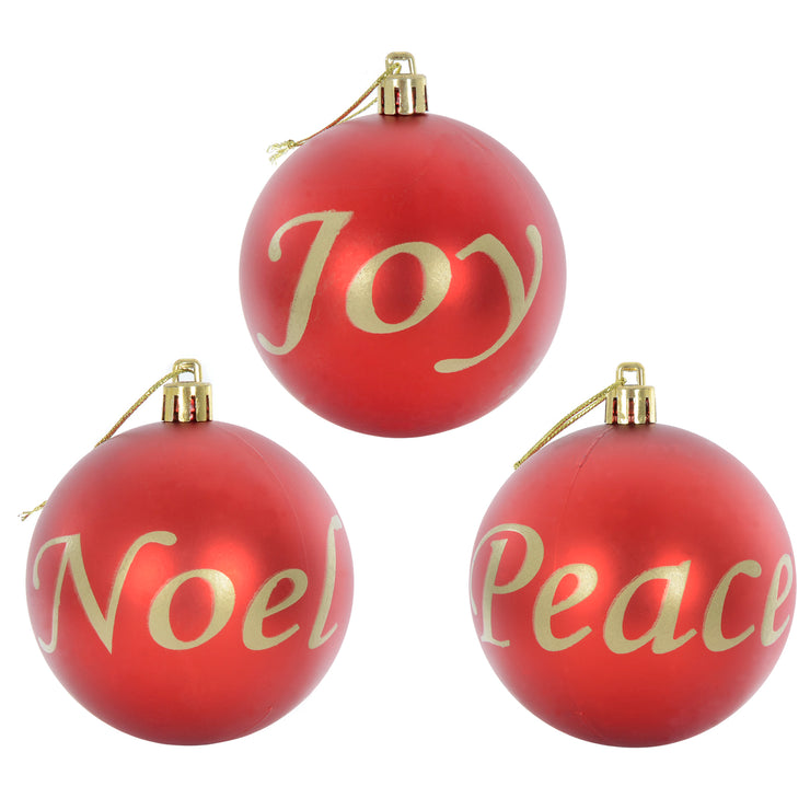red and gold Joy, Noel, Peace christmas baubles with gold thread and top