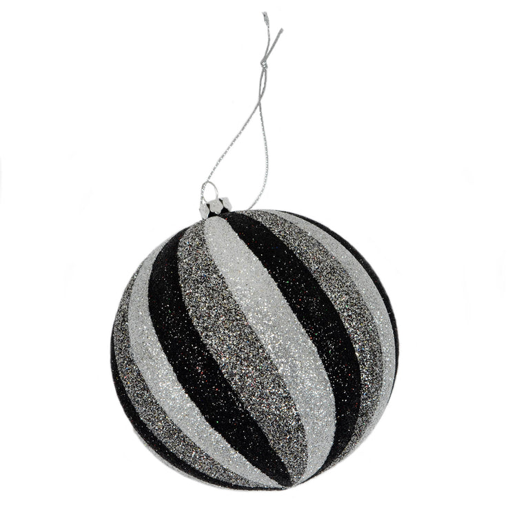 single bauble with black and silver glitter stripe design