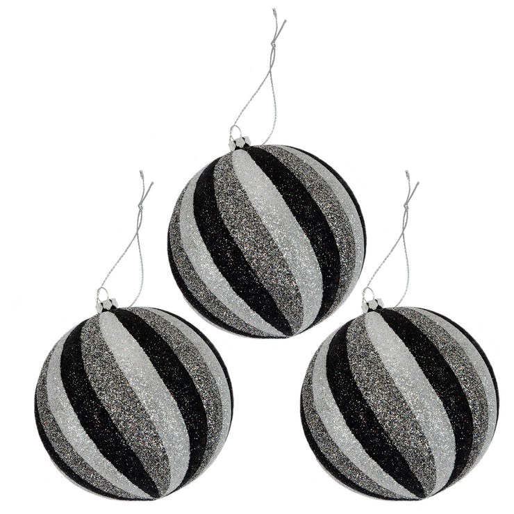 large black and silver glitter striped christmas tree baubles with silver thread