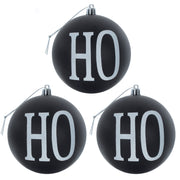 "set of 3 black ""Ho Ho Ho"" tree baubles with white glitter and silver thread"