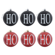 Ho Ho Ho design christmas tree baubles available in black or red colours