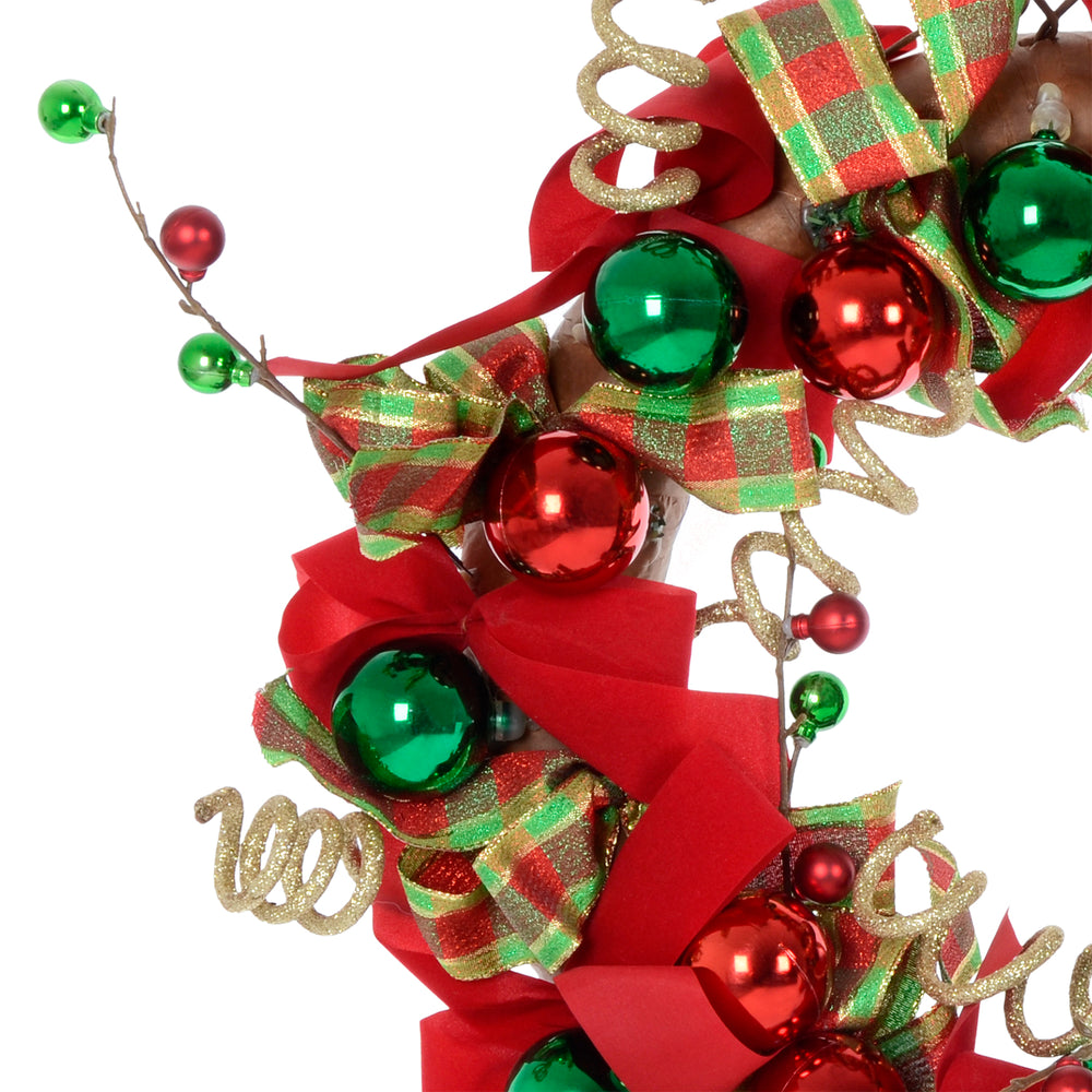 Mr Crimbo Christmas Wreath Modern Decoration Red Green 24