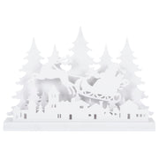 wooden santa and sleigh white christmas scene decoration