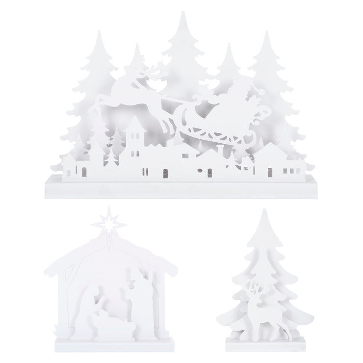 White Christmas scene decoration available in 3 designs