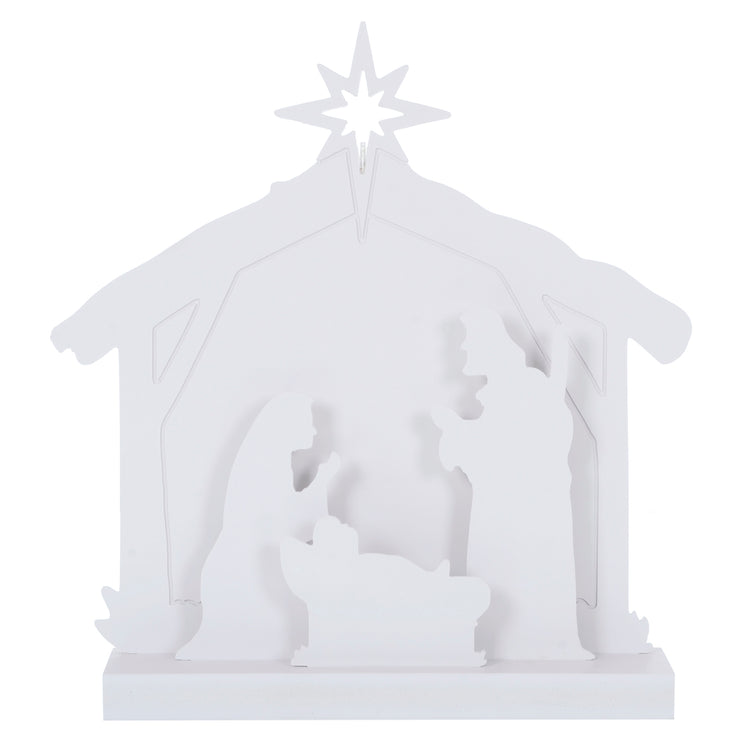 front view of wooden nativity scene decoration