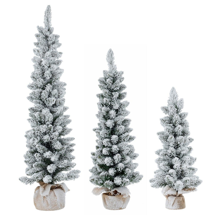 snow flocked pencil christmas tree with hessian jute base available in 2ft, 3ft or 4ft sizes