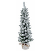 3ft flocked pencil christmas tree in hessian jute bag