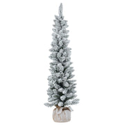 4ft snow flocked christmas pencil tree