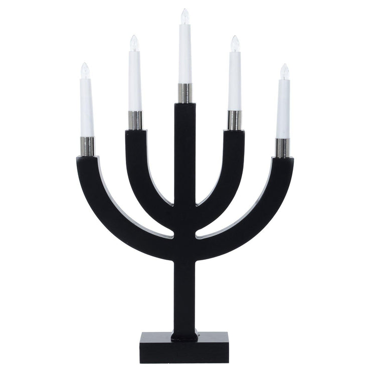 mains power candle bridge lamp black base with white candles shown on a white background un-lit