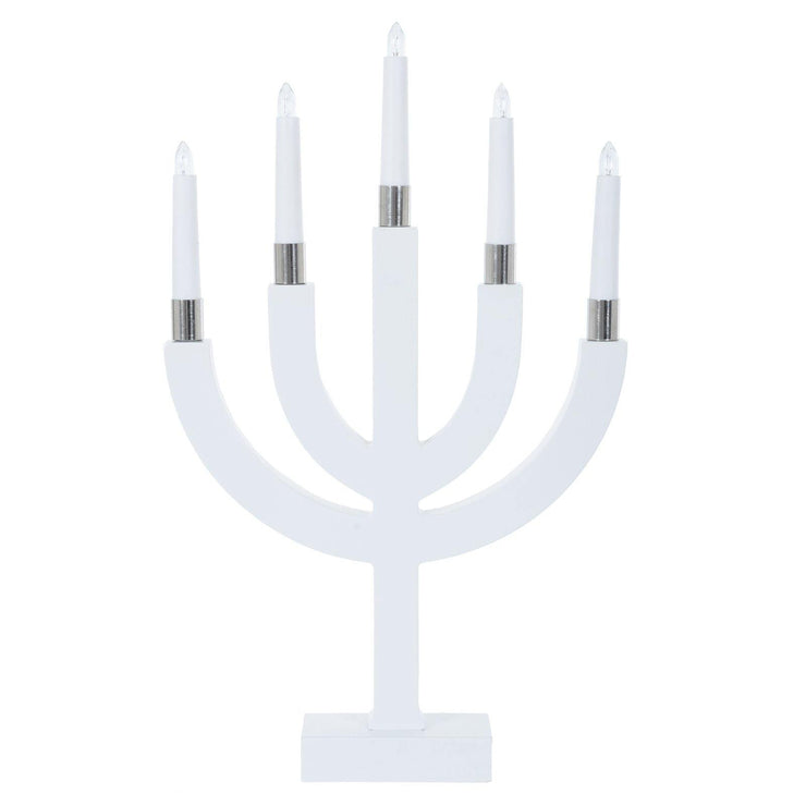 mains power candle bridge lamp white base with white candles shown un-lit on a white background